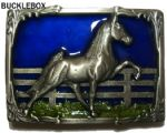 Horse and Fence Belt Buckle + display stand. Code OD3